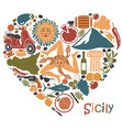 set icons on a theme sicily in form a vector image