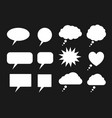 set white speech bubbles silhouettes vector image
