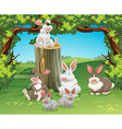 Six rabbits in the garden vector image vector image