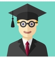 Smiling graduate student flat icon vector image vector image