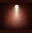 spotlight against brick wall empty studio vector image vector image