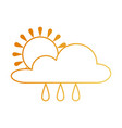 weather cloud rainy with sun vector image vector image