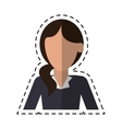 woman hair tail style formal clothes cutting line vector image