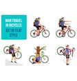 Bicycle travel A man traveling by bicycle vector image