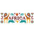 africa banner safari animals tribal symbols vector image vector image