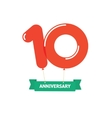 Anniversary 10th balloons poster red label 10 vector image vector image
