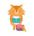 back to school fox reading book with bag ruler