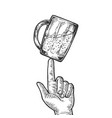 beer cup spinning on finger engraving vector image vector image