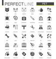 black classic web pet shop icons set vector image