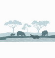 black silhouette hippopotamus family vector image vector image