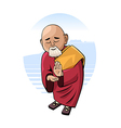 Buddhist monk in mental concentration vector image