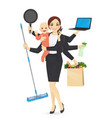 busy mother with baby vector image vector image