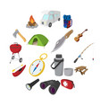 camping cartoon icons vector image vector image