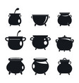 cauldron kettle halloween icons set simple style vector image