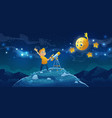 child look in telescope boy space observation vector image