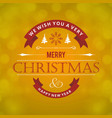 christmas greetings card with light green vector image vector image
