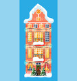 city house covered snow vector image