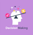 Decision making pros and cons versus concept