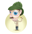 Detective with his magnifying glass vector image vector image