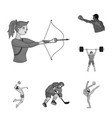 different kinds of sports monochrome icons in set vector image vector image