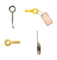 door key icon set cartoon style vector image