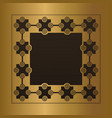 engraved gold metal frame blank vector image vector image