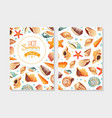 enjoy hot summer card template with seashells vector image vector image
