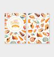 enjoy hot summer card template with seashells vector image