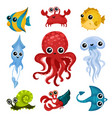 flat set of different ocean animals marine vector image