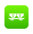 freight railroad car icon digital green vector image vector image