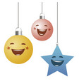 funny christmas ornaments balls and star hanging vector image