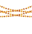 Garlands of autumn maple leaves on a white vector image