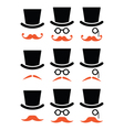 Ginger mustache or moustache with hat and glasses vector image vector image