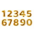 golden numbers realistic metal plump numerals vector image