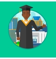 Graduate giving thumb up vector image vector image