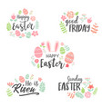 happy easter lettering sticker collection vector image vector image
