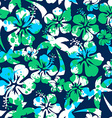 Hibiscus and palm seamless pattern vector image vector image