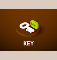 key isometric icon isolated on color background vector image vector image