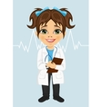 little girl wearing laboratory coat writing notes vector image vector image