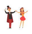 magician and his assistant girl standing with vector image vector image