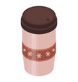 mulled wine plastic cup icon isometric style vector image