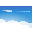 paper airplane in clouds vector image vector image