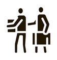 people with luggage icon glyph vector image vector image