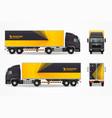realistic cargo vehicle mockup ad design vector image