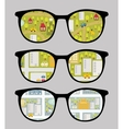 Retro sunglasses with cityscape reflection vector image vector image