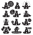 Rooster Emoticons Monochrome Icons Set vector image vector image