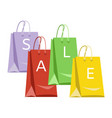 sale poster with colorful paper shopping bags and vector image