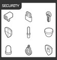 security outline isometric icons vector image vector image