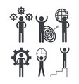 set business teamwork with gears and graphic vector image