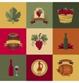 set objects icons for wine and restaurants vector image vector image
